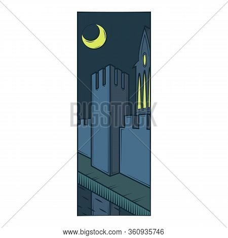 Fortress Wall Tower, Protective Moat, Reflection In The Water. Moonlight Night.flat Minimal Linework