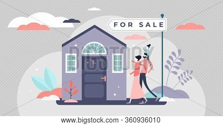 Home For Sale Vector Illustration. Buy House In Flat Tiny Persons Concept. Family Purchase Investmen