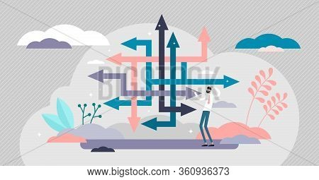 Choice Confusion Vector Illustration. Business Path Flat Tiny Persons Concept. Various Strategies Fo
