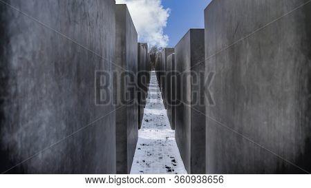 Berlin, Germany - November 2019: Isolated Memorial To The Murdered Jews Of Europe, Holocaust Memoria