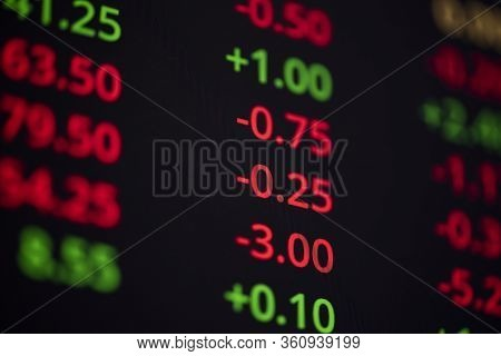 Stock Market Graph Data Board On Screen Monitor For Investment Business Analysis Finance In Stock Ex