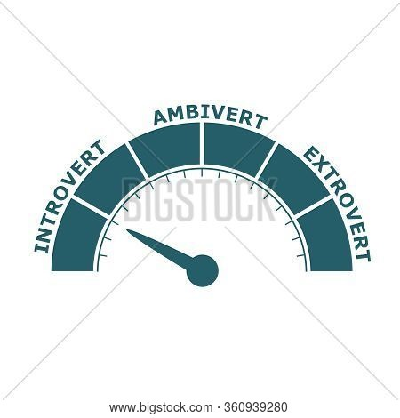 Extrovert, Ambivert And Introvert Concept Illustration. Human Psychology. Level Scale With Arrow. Th