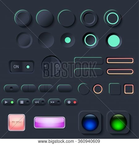 Neumorphic Ui Button Set. Dark Color Workflow Graphic Elements In Skeuomorph Trend Design. Button El