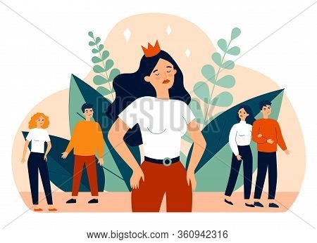 Selfish Girl And Society Flat Vector Illustration. Arrogant Young Woman Not Seeing Angry People. Soc