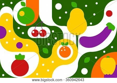 Fruits And Vegetables On Geometric Green Background In Bauhaus Style, Fashion Pattern With Curves, G