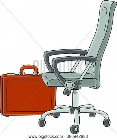 Office Easy Swivel Task Chair And A Business Leather Briefcase, Vector Cartoon Illustration On A Whi