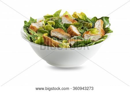 Healthy Green Salad With Crispy Fried Chicken Isolated On White