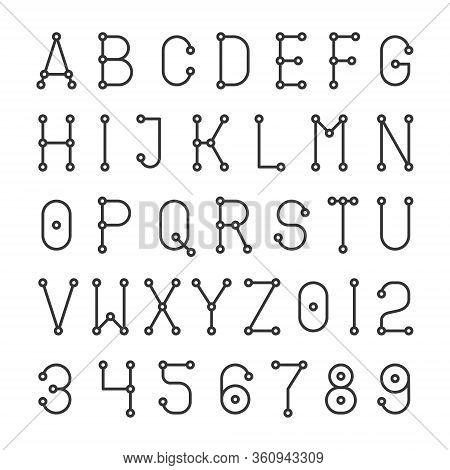 Geometric Simple Alphabet Font. Abc Line Stylr Design. Vector