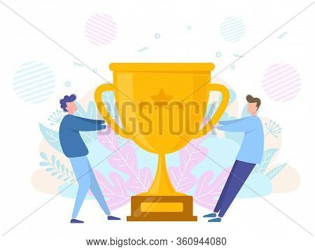 Concept Of Victory Success And Rivalry. People Pull The Winner Cup. Vector
