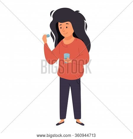 A Woman Is Drinking Medicine. She Holds A Pill And A Glass Of Water In Her Hands