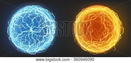 Electric Balls, Plasma Spheres, Lightning Circle Strike In Blue And Orange Colors. Powerful Electric