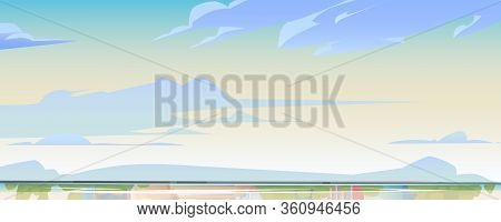 Sky Or Heaven And Water Surface Background, Nature Landscape With Soft Fluffy Clouds Flying Above La