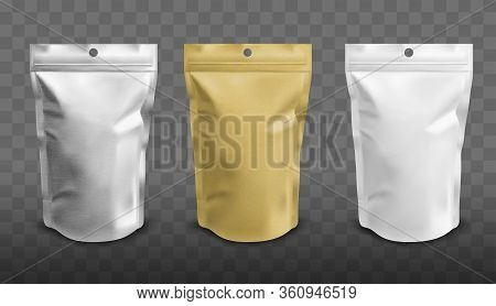 Foil Pouch With Zipper, Doypack For Food. Blank Stand Up Plastic Bags. Vector Realistic Mockup Of Wh