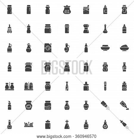 Condiment Sauces Vector Icons Set, Modern Solid Symbol Collection, Filled Style Pictogram Pack. Sign