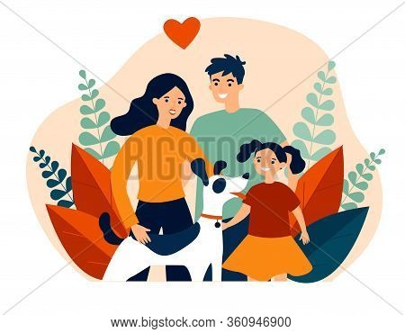 Parents Presenting Pet To Their Child Flat Vector Abstract Illustration. Happy Family Adopting Dog.