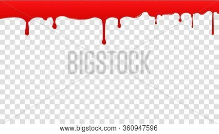 Realistic Blood Isolated On A Transparent Background. Drops And Splashes. Dripping Blood. Seamless P