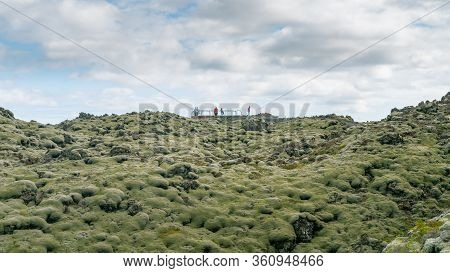 Skaftareldahraun, Iceland - August 2019: Tourists Watching Over Moss Covered Lava Fields, Also Known