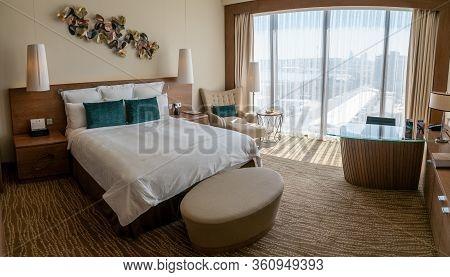 Baku, Azerbaijan - July 2019: Interior Decoration Of Baku Jw Marriott Absheron Hotel Room
