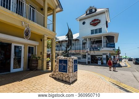 George Town, Grand Cayman Island, Uk - April 23, 2019: Street View Of George Town At Day With Pedest