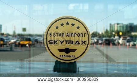 Baku, Azerbaijan - July 2019: Baku Heydar Aliyev Airport Is A 5 Star Airport Awarded By Skytrax, Aze
