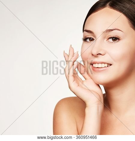 Beauty Young Girl Portrait. Studio Cosmetology Woman Face With Hands. Facial Cosmetics Treatment. Sk