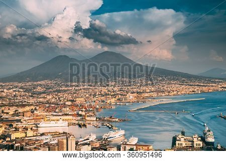 Naples, Italy. Top View Cityscape Skyline Of Naples With Mount Vesuvius And Gulf Of Naples In Backgr