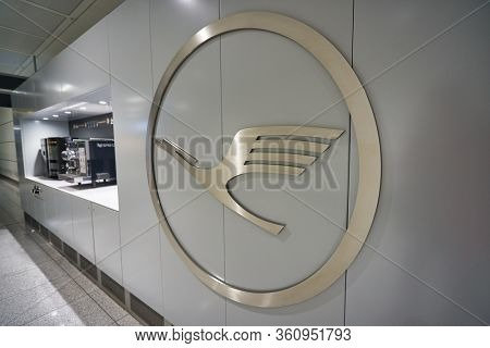 MUNICH, GERMANY - CIRCA JANUARY, 2020: Lufthansa sign seen on a wall in Munich Airport. Lufthansa is the flag carrier and largest German airline.