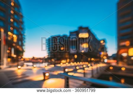 Oslo, Norway. Night Abstract Boke Bokeh Background Effect. Residential Multi-storey Houses In Aker B