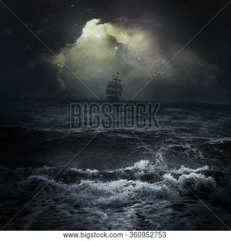 Mystique Ship In The Ocean Or Sea In Stormy Weather Dark Sky