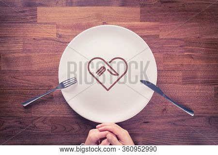 Love Eating Gourmet And Gastronome Concept. Finish Eating Gourmet With Empty Plate.