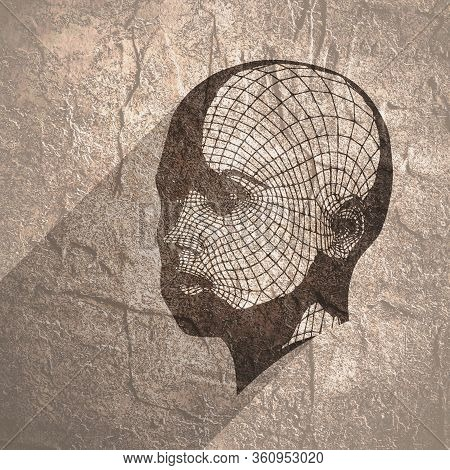 Head Of The Person From A 3d Grid. Human Head Wire Model. 3d Geometric Face Design. Polygonal Coveri