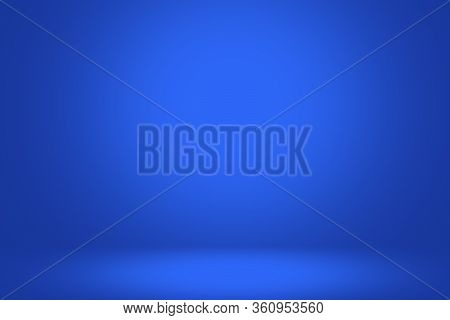Concept Abstract Blue Background Room Empty, Blue Background With Spot Light Bright White Color, 3d.