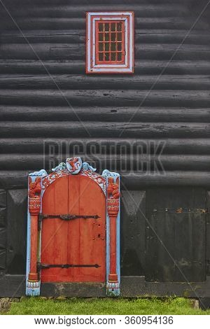 Traditional Feroe Antique House In Kirkjubour. Faroese Cultural Heritage