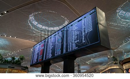 Istanbul, Turkey - May 2019: Flight Information Display In New Istanbul Airport Displaying The Upcom