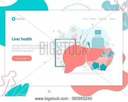 Liver Health Concept. Prevention Of Cirrhosis, Hepatitis. Vaccination. Medical Web Banner Design Tem