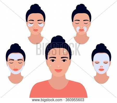 Woman Face With Different Facial Procedures. Relax With Facial Masks. Girl Take Care About Her Face.