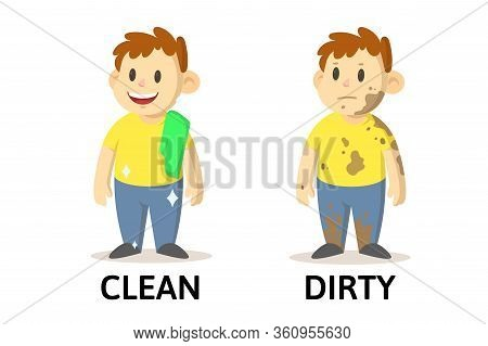 Words Clean And Dirty Flashcard With Cartoon Characters. Opposite Adjectives Explanation Card. Flat