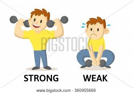 Words Strong And Weak Flashcard With Cartoon Characters. Opposite Adjectives Explanation Card. Flat