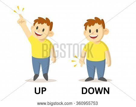 Words Up And Down Flashcard With Cartoon Characters. Opposite Adjectives Explanation Card. Flat Vect