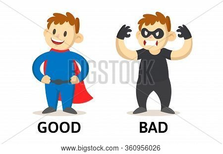 Words Good And Bad Flashcard With Cartoon Characters. Opposite Adjectives Explanation Card. Flat Vec