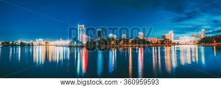 Minsk, Belarus - September 3, 2016: Panorama With Residential House Near Pobediteley Avenue And Svis