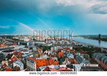 Riga, Latvia - July 1, 2016: Rainbow Over Cityscape. Building Of Latvian Academy Of Sciences, Built