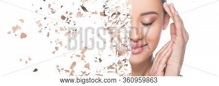 Dry, Cracked Skin. Female Face With Natural Makeup, Splits Into Many Pieces. Cosmetology, Facelift.