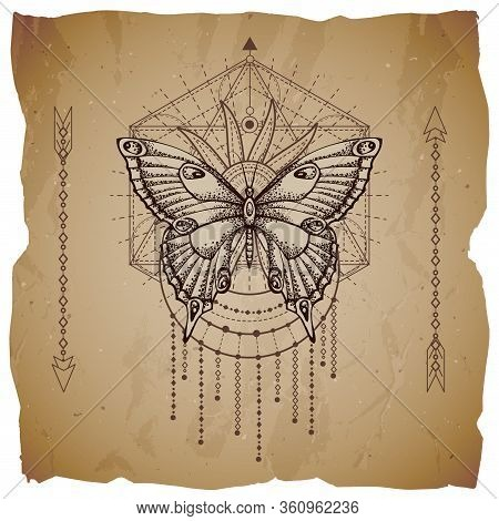Vector Illustration With Hand Drawn Butterfly And Sacred Geometric Symbol On Old Paper Background Wi