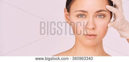 Woman Derma Treatment. Facial Aesthetics Anti Age Analysis. Cosmetology Doctor Glove. Dermatology Fe