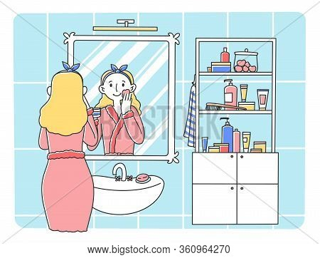 Young Woman Standing In Front Of Mirror Flat Vector Illustration. Colorful Cartoon Lady In Bathroom