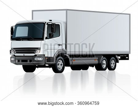 Vector Delivery Cargo Truck Template Isolated On White. Available Eps-10 Separated By Groups And Lay
