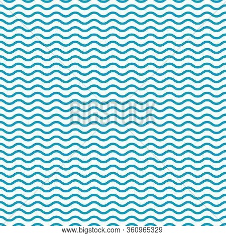 Blue Seamless Wavy Pattern. Wave Line Background. Simple Sea And Ocean Texture. Retro Art With Curve