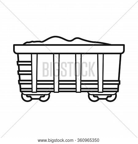 Isolated Object Of Wagon And Cargo Symbol. Web Element Of Wagon And Coal Vector Icon For Stock.