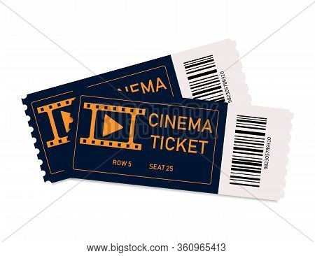 Movie Tickets. Two Tickets In Cinema Or Theater. Coupon With Admit. Film Concept. Background For Rea